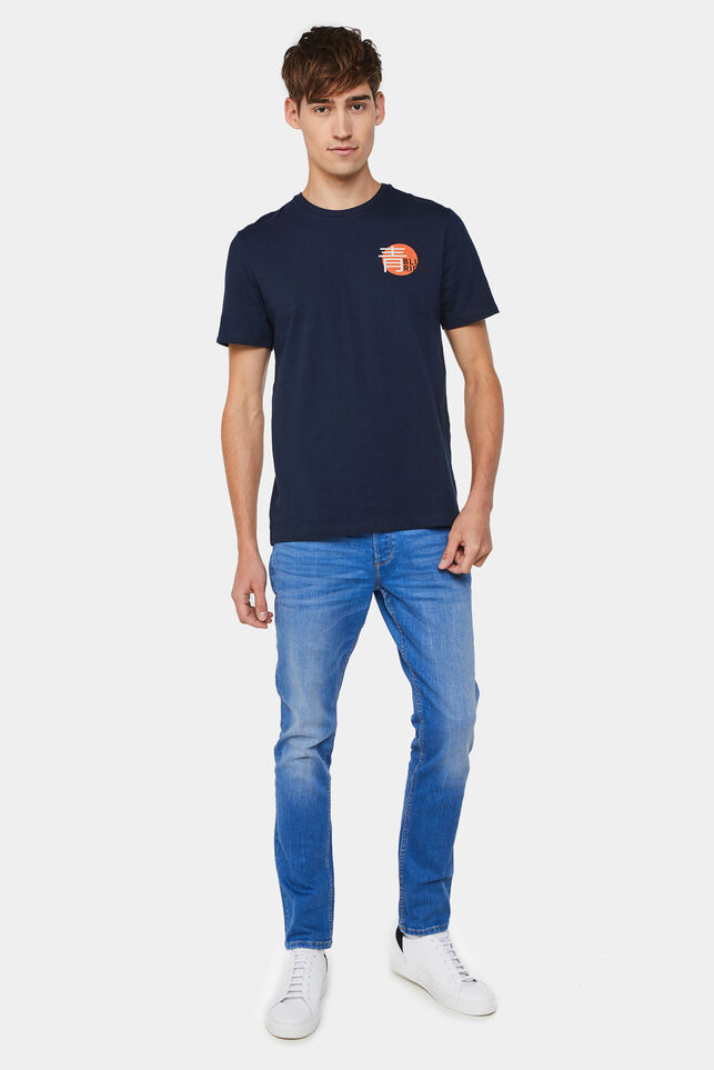Heren slim fit jeans met super stretch Blauw