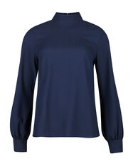 DAMES HIGH NECK BLOUSE_DAMES HIGH NECK BLOUSE, Marineblauw