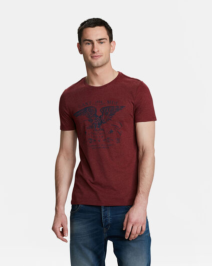 HEREN EAST SIDE PRINT T-SHIRT Donkerrood
