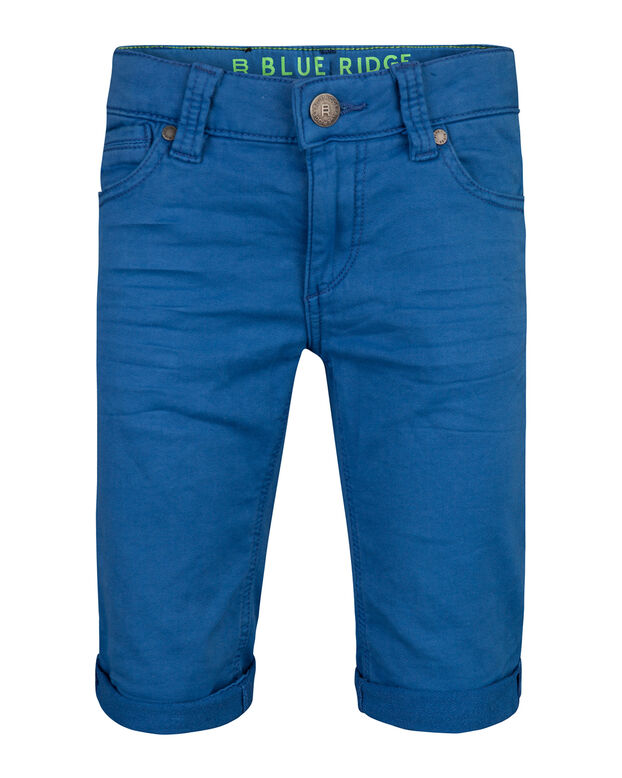 JONGENS SLIM FIT GARMENT DYE JOG DENIM SHORT Kobaltblauw