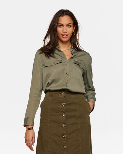 DAMES TENCEL BLOUSE Groen