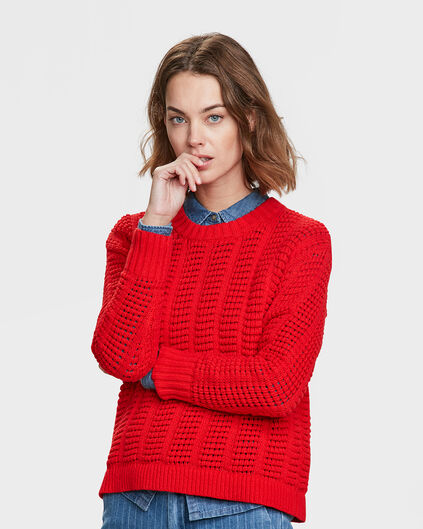 DAMES PATTERN KNIT TRUI Rood