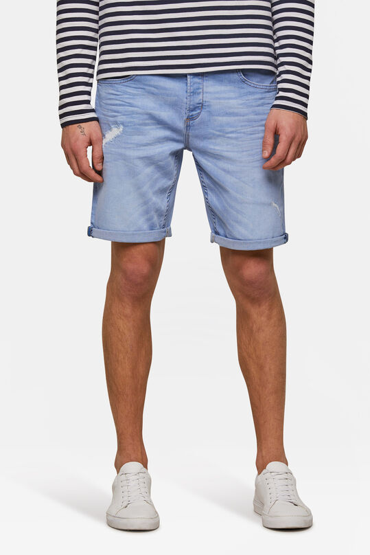 Heren regular fit denimshort Pastelblauw