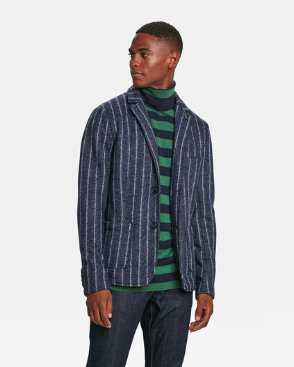 HEREN RELAXED FIT PINSTRIPE BLAZER Marineblauw