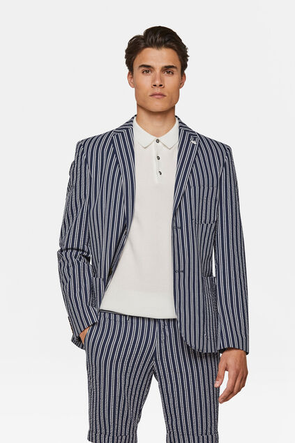 Heren slim fit seersucker blazer Stuart Blauw