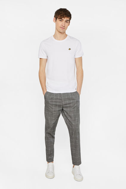 Heren geruite loose fit chino Grijs