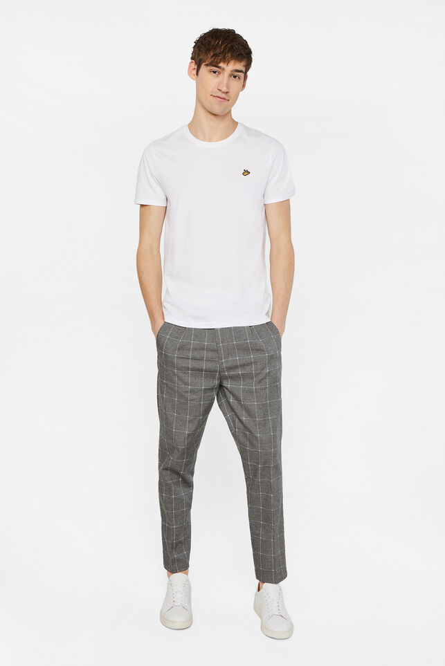 Heren geruite slim fit cropped chino Grijs