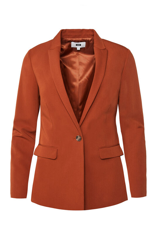 Dames regular fit blazer met stretch Roestbruin