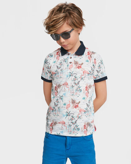 JONGENS FLAMINGO PRINT POLO All-over print