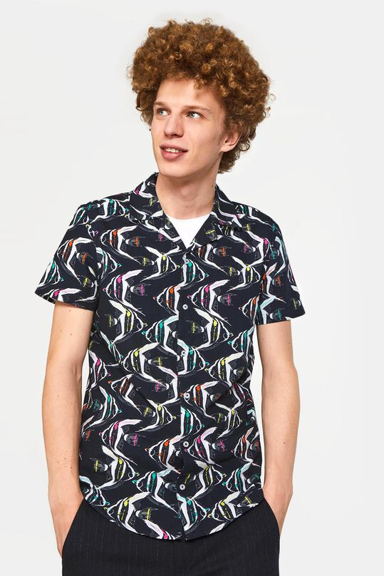 Heren slim fit overhemd met structuur All-over print