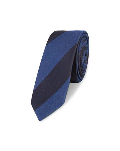 HEREN STRIPED PRINT TIE Blauw