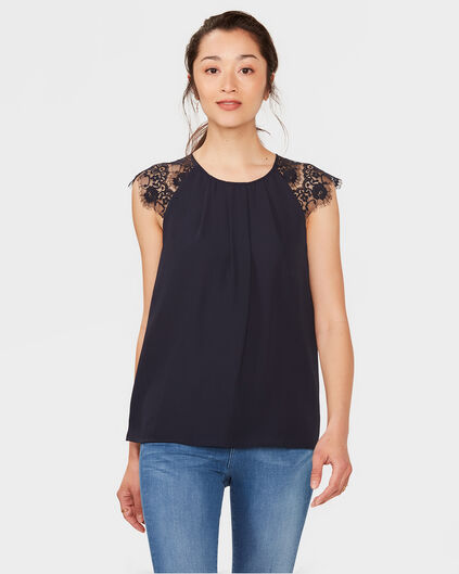 DAMES LACE DETAIL TOP Donkerblauw