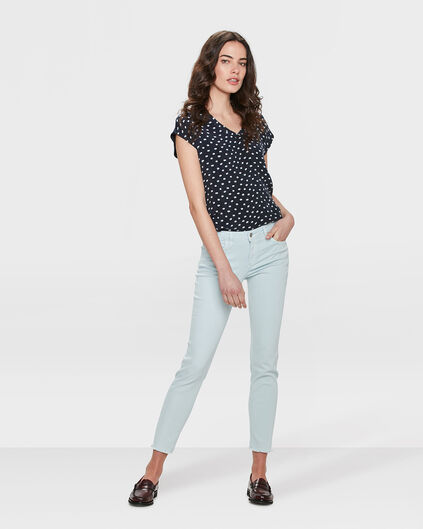 DAMES MID RISE SKINNY HIGH STRETCH CROPPED COLOURED BROEK Mintgroen