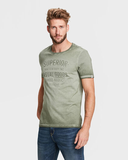 HEREN VINTAGE WASH T-SHIRT Legergroen