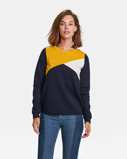 DAMES COLOURBLOCK SWEATER Donkerblauw