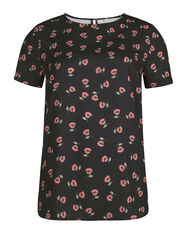 DAMES BLOEMENPRINT TOP_DAMES BLOEMENPRINT TOP, Zwart