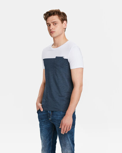 HEREN COLOUR BLOCK T-SHIRT Marineblauw