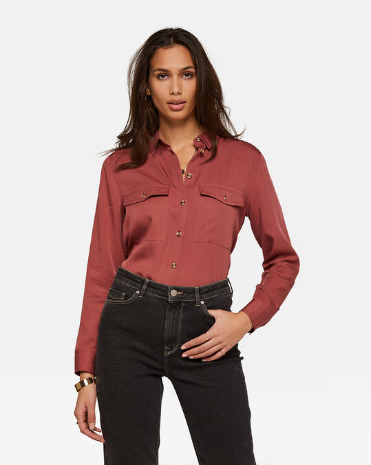 DAMES TENCEL BLOUSE Lichtrood