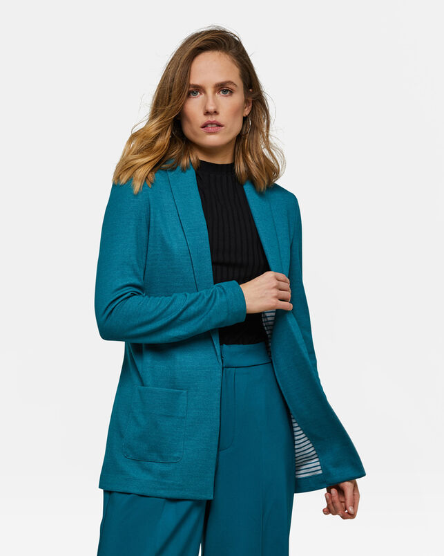 DAMES REGULAR FIT MELANGE BLAZER Turkoois