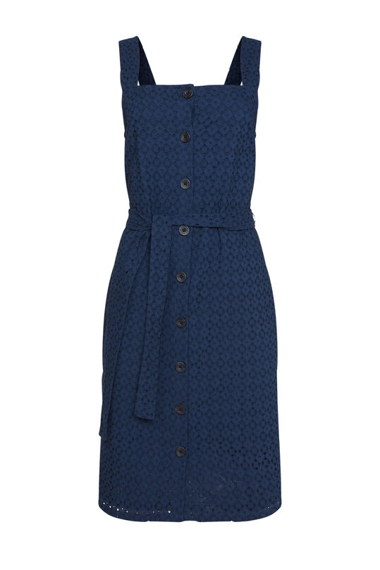Dames jurk met broderie anglaise Donkerblauw