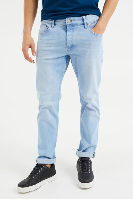 Heren slim fit jeans met super stretch Lichtblauw
