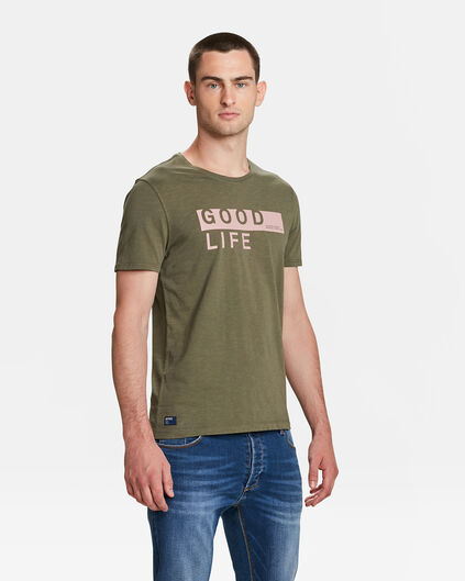 HEREN GOOD LIFE PRINT T-SHIRT Legergroen