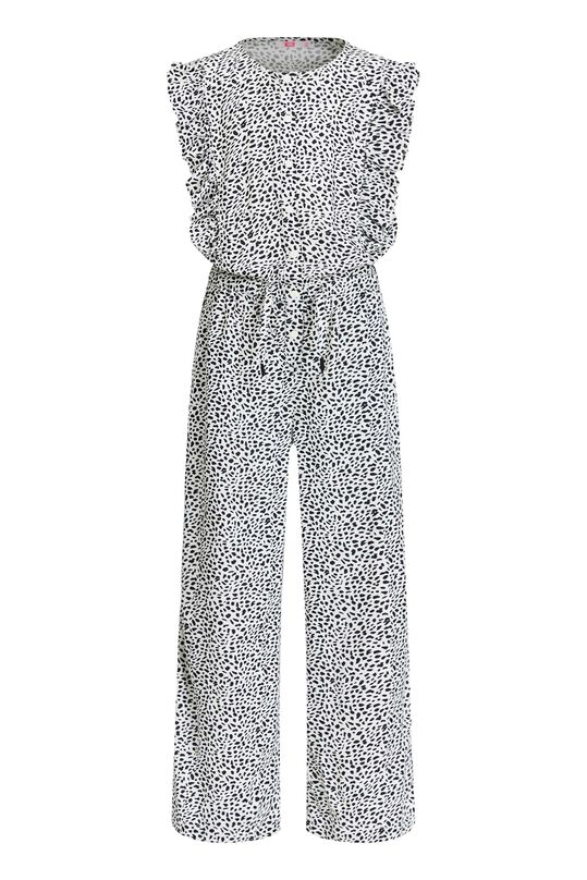 Meisjes jumpsuit met dessin en volant All-over print