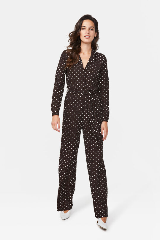 Dames stippendessin jumpsuit Donkerbruin