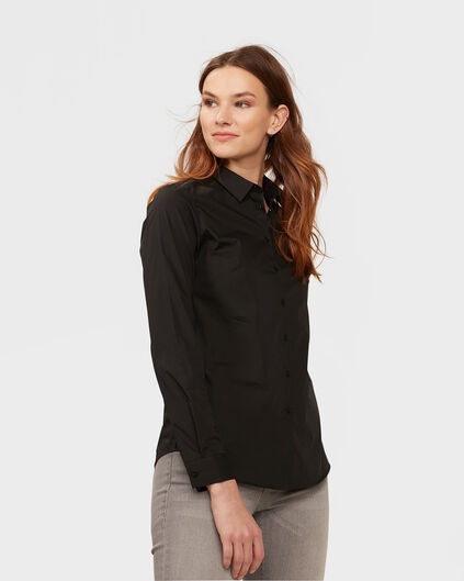 DAMES STRETCH BLOUSE Zwart