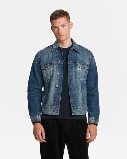 HEREN DENIM TRUCKER JACKET Blauw