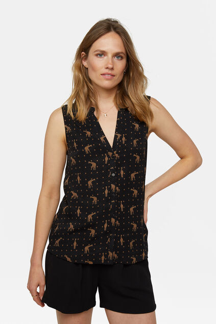 Dames jacquard top Zwart