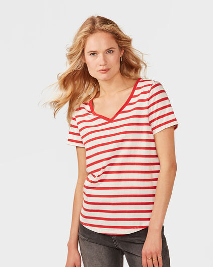 DAMES JERSEY STRIPE BOWTIE TOP Rood