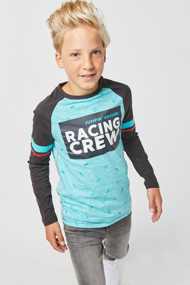 Jongens racing crew T-shirt Turkoois