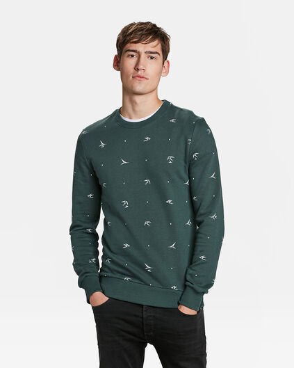 HEREN VOGELPRINT SWEATER Groen