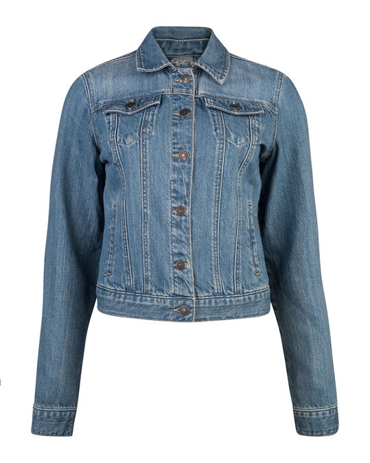DAMES DENIM TRUCKER JACKET Blauw