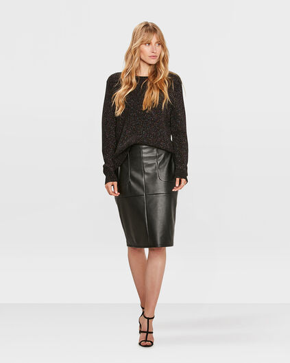 DAMES FAUX LEATHER PENCIL SKIRT Zwart