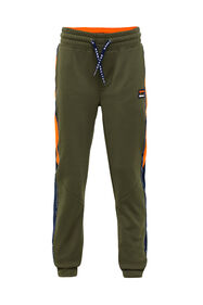 Jongens sweatpants met tapedetail_Jongens sweatpants met tapedetail, Legergroen
