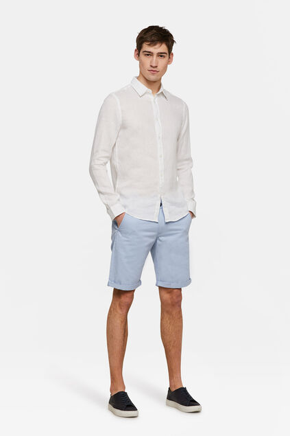 Heren regular fit chino short Pastelblauw