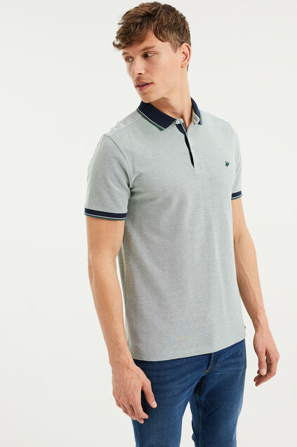 Heren slim fit polo Mintgroen