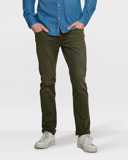 HEREN SLIM TAPERED BROEK Legergroen