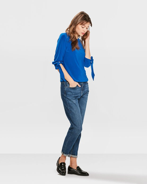 DAMES SOLID STRIK DETAIL TOP Blauw