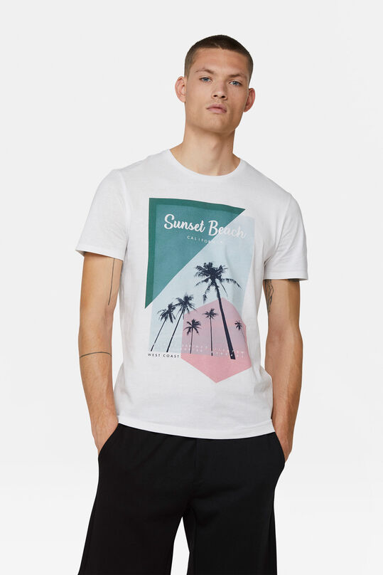 Heren sunset beach print T-shirt Wit