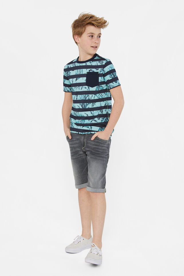 Jongens regular fit denimshort Lichtgrijs