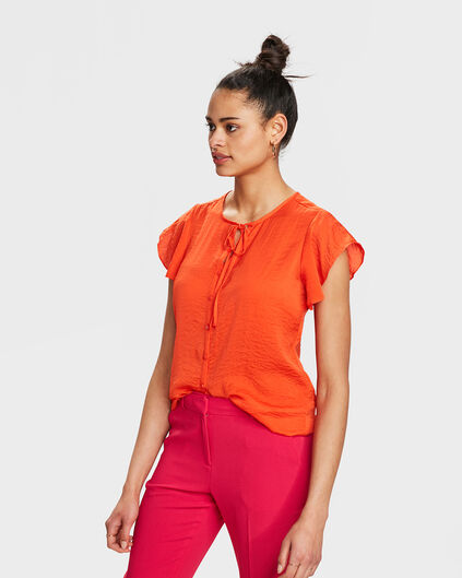 DAMES STRIK DETAIL TOP Oranje