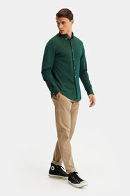 Heren slim tapered chino met ribstructuur_Heren slim tapered chino met ribstructuur, Beige