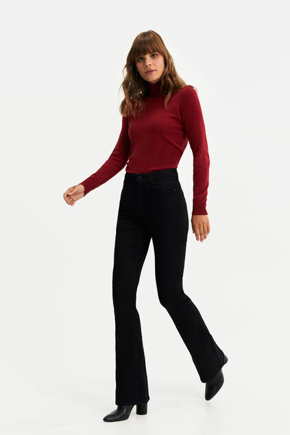 Dames high rise high stretch flared jeans Zwart