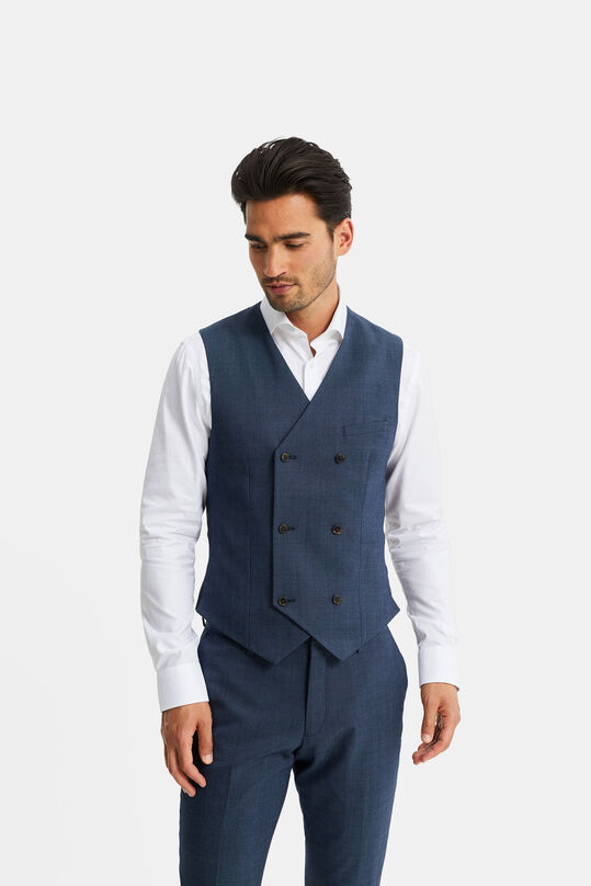 Heren gemêleerde double breasted gilet, Corr Marineblauw