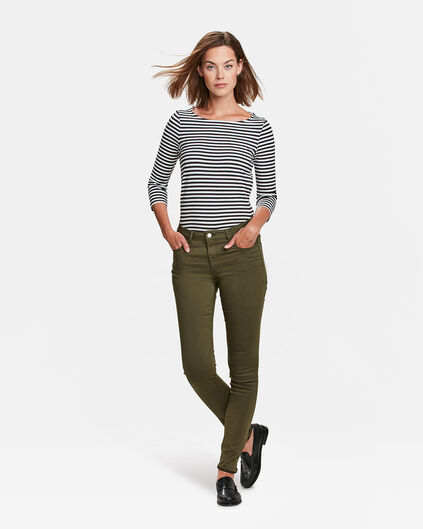 DAMES MID RISE SKINNY HIGH STRETCH BROEK Olijfgroen