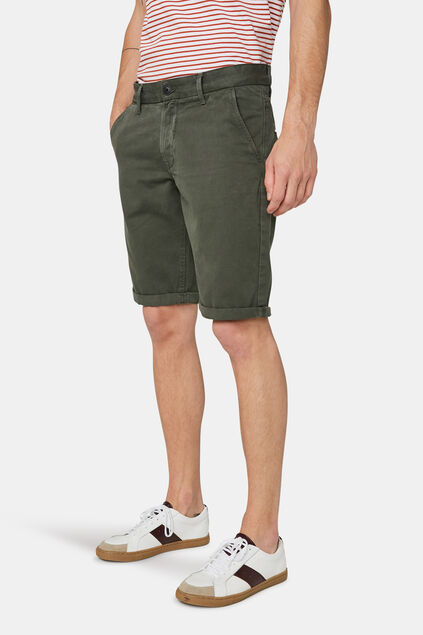 Heren long fit chino short Legergroen
