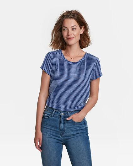 DAMES BACK DETAIL STRIPE T-SHIRT Marineblauw